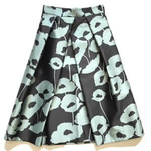 NWOT Milly Pleated Midi Skirt 4 Black Blue Floral
